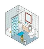 Isometrische illustratie van badkamers Hand getrokken binnenlandse mening Stock Foto's