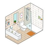 Isometrische illustratie van badkamers Hand getrokken binnenlandse mening Stock Foto