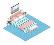 Isometrische illustratie van slaapkamerbinnenland Royalty-vrije Stock Fotografie