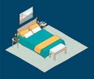 Isometrische illustratie van slaapkamerbinnenland Royalty-vrije Stock Afbeeldingen