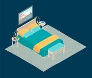 Isometrische illustratie van slaapkamerbinnenland Stock Foto