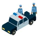 Isometrische illustratie van twee politieagenten die koffie drinken dichtbij de auto Stock Fotografie
