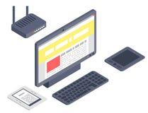 Isometrische Illustration der Mobilkommunikation 3d der drahtlosen Technologien der Vektorgerätcomputergerätikonen Digital lizenzfreie abbildung