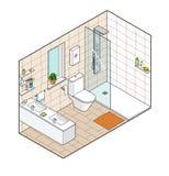 Isometrische Illustration des Badezimmers Hand gezeichnete Innenansicht Stockfoto