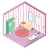 Isometrische Illustration des Mädchenkinderraumes lizenzfreie stockbilder