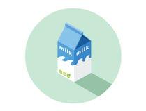 Isometrische Illustration des Vektors des eco Milchkastens Lizenzfreie Stockfotos