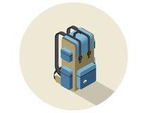 Isometrische Illustration des Vektors des kampierenden Rucksacks Lizenzfreies Stockbild