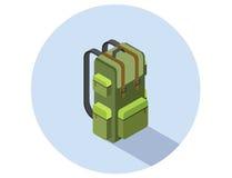 Isometrische Illustration des Vektors des kampierenden Rucksacks Lizenzfreie Stockfotos