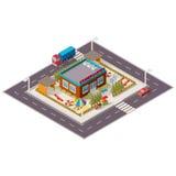 Isometrische Illustration des Vektors des Kindergartens Stockbilder