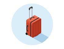Isometrische Illustration des Vektors des roten Koffers Stockfotos