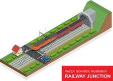 Isometrische Illustration des Vektors einer Bahnkreuzung Bahnkreuzung bestehen aus Eisenbahntunnel des modernen Hochgeschwindigke Stockbilder