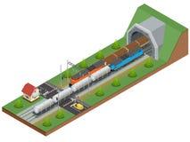 Isometrische Illustration des Vektors einer Bahnkreuzung Bahnkreuzung bestehen aus Planwagen der Schiene, Diesellokomotive Stockfotos