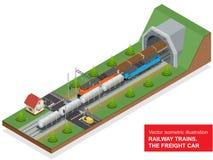 Isometrische Illustration des Vektors einer Bahnkreuzung Bahnkreuzung bestehen aus Planwagen der Schiene, Diesellokomotive Stockfoto