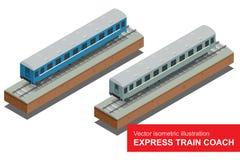 Isometrische Illustration des Vektors eines Schnellzugs Schnellzug Fahrzeuge entwarfen, viele Passagiere zu befördern Lizenzfreies Stockfoto