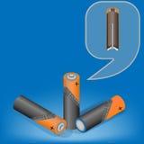 Isometrische Illustration des Vektors von alkalischen Batterien Stockbilder