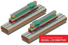 Isometrische Illustration des Vektors von Diesel-Locomotivel Bilden Sie sich fortbewegenden flachen Vektor 3d des Transport-Schie Lizenzfreie Stockfotografie