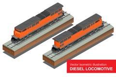 Isometrische Illustration des Vektors von Diesel-Locomotivel Bilden Sie sich fortbewegenden Transport-Schienentransportvektor fla Lizenzfreie Stockfotos