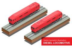 Isometrische Illustration des Vektors von Diesel-Locomotivel Bilden Sie sich fortbewegenden Transport-Schienentransportvektor fla Stockbild
