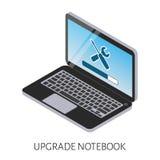 Isometrische Illustration einer Verbesserung des Computerlaptops mit einer Streifenlasts- und -ikonenreparatur Lizenzfreie Stockbilder