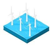 Isometrische Illustration von windwarm Internet Ikone Lizenzfreies Stockbild