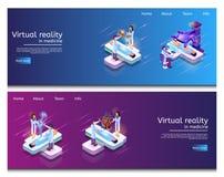 Isometrische Illustrations-virtuelle medizinische Forschung vektor abbildung