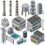 Isometrische industriële gebouwen en andere voorwerpen Stock Afbeeldingen