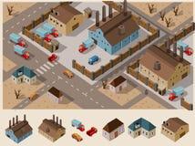 Isometrische Industriezone Royalty-vrije Stock Afbeeldingen
