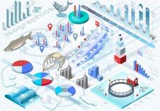Isometrische Infographic-Ijs Visserijreeks Stock Afbeeldingen