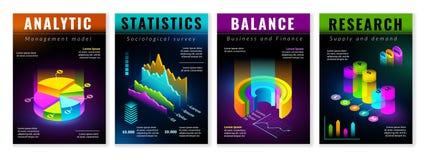 Isometrische infographic Plakate lizenzfreie abbildung
