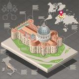 Isometrische Infographic van Heilige Peter van Vatikaan Stock Foto