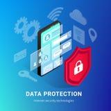 Isometrische Internet-de gradiëntbanner van veiligheidssmartphone stock illustratie