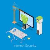 Isometrische Internet-Sicherheit und Daten-Schutz-Konzept mit dem Computer verteidigt durch Schild von den Viren vektor abbildung