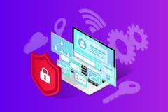 Isometrische Internet-veiligheidsbanner vector illustratie