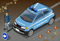 Isometrische Italiaanse Politiewagen Stock Afbeelding