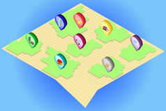 Isometrische kaart met isometrische spelden op het Stock Foto