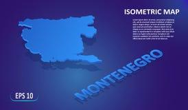 Isometrische kaart van MONTENEGRO Gestileerde vlakke kaart van het land op blauwe achtergrond Moderne isometrische 3d plaatskaart royalty-vrije illustratie