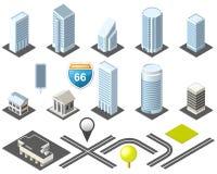 Isometrische kaarttoolkit de stad in Stock Afbeelding