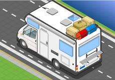 Isometrische kampeerauto in achtermening stock illustratie