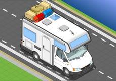 Isometrische kampeerauto in vooraanzicht vector illustratie