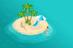 Isometrische Karikaturvektorleute, Mädchen 3d in einem Badeanzug auf einer einsamen Insel auf der Mitte des Seehellen Sommers lizenzfreie abbildung