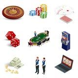 Isometrische Kasino-Ikonen eingestellt Laptop mit den Rouletten, Spielautomaten, Würfeln, Kasinochips und Spielkarten an lokalisi stock abbildung