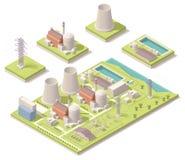Isometrische kernenergiefaciliteit Stock Afbeelding