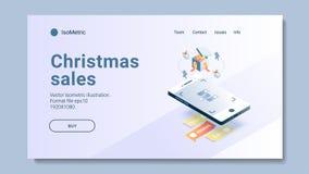 Isometrische Kerstmisillustratie royalty-vrije stock afbeeldingen
