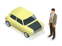 Isometrische Klassieke mini modelauto en mens Royalty-vrije Stock Foto's