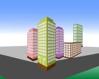 Isometrische kleurrijke gebouwen vector illustratie