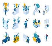 Isometrische Konzepte der Zielleistung, Sieger, Gewinn, Büroangestellter Für Website und beweglichen Anwendungsentwurf vektor abbildung