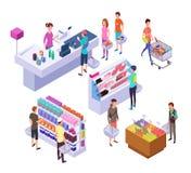 Isometrische kruidenierswinkelopslag 3d supermarktbinnenland met winkelende mensenklanten en producten Kleinhandels vectorreeks royalty-vrije illustratie