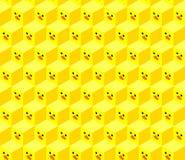 Isometrische kubussen met het vlakke gezicht van de ontwerpeend royalty-vrije stock afbeelding