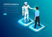 Isometrische kunstmatige intelligentie AI stock illustratie
