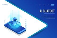Isometrische kunstmatige intelligentie Chatbot en toekomstige marketing AI en bedrijfsiot concept De dienst van de dialooghulp stock illustratie